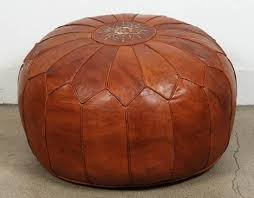 Ottoman Morocco Leather Pouf Ottoman With Large Vintage Moroccan Leather