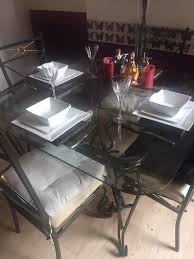 cast iron glass table cast iron glass table and chairs with marble placemats in coventry