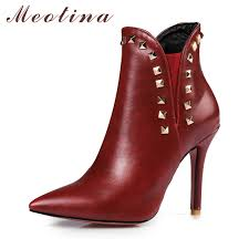womens high heel boots size 12 meotina ankle boots rivets thin high heel boots pointed toe