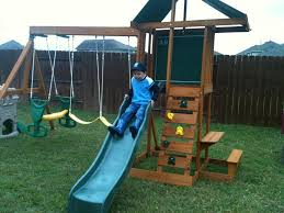 exterior best kids outdoor playsets ideas with green roof and