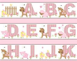 PUPPY NURSERY DECOR Alphabet Wallpaper Border Wall Decal - Kids room wallpaper borders