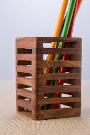 Pencil Holder For Desk Rusticity Pen Pencil Holder Wood Mesh Design For Desk Office