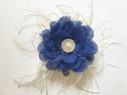 hair chiffon royal blue hair flower feather fascinator royal blue chiffon lace