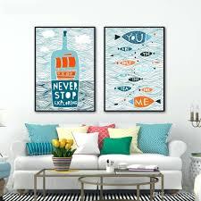 wall arts 2017 abstract canvas painting nordic fish sailing