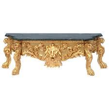 konsolentisch gold barock löwenkopf marmorplatte grün 45x132cm