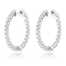 diamond hoops diamond hoops 14k diamond hoop earrings inside out 1 87