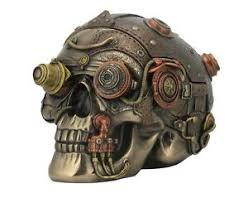 Leather Home Decor Steampunk Skull With Leather Texture Trinket Box Statue Sculpture