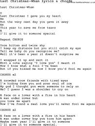 love song lyrics for last christmas wham with chords