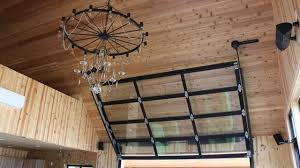 Overhead Doors For Sheds Entertainment Room With Overhead Glass Garage Door Contemporary