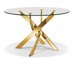 glass table top mississauga pb 02el round glass top dining table titanized stainless steel