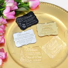 engraved acrylic wedding place cards with magnet personalized favors