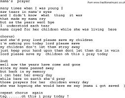 southern and bluegrass gospel song mama u0027s prayer lyrics