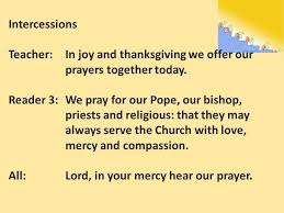 intercessions in and thanksgiving we offer our prayers
