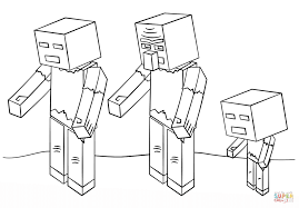 minecraft zombies coloring free printable coloring pages