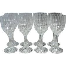 set of 8 lead crystal fluted diamond cut wine glasses sold on ruby