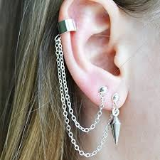 earrings with chain ear cartilage asymmetric pair of ear cuffs piercing 2 holes