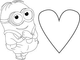 minion very cute dave heart coloring page wecoloringpage