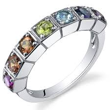 color stone rings images 7 stone rainbow color 1 75 carats band ring sterling jpg