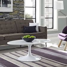 Contemporary White Coffee Table by Saarinen Style 42 U0027 U0027 Tulip Coffee Table In Lacquer White Designer