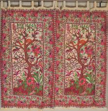 India Curtains India Inspired Window Curtains Printed Cotton Tree Of