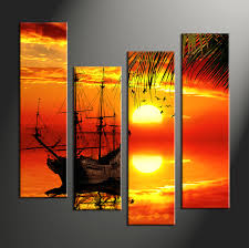 4 piece red canvas landscape sunset wall decor