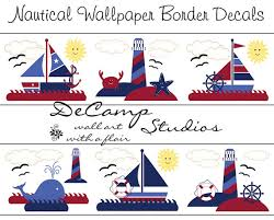 nautical wallpaper wall art border decals for baby boy nursery or