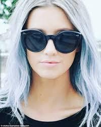 gray hair fad denim hair is the latest trend as women dye their hair purple