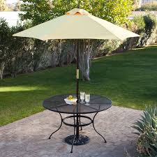 Floral Print Patio Umbrellas by Amazon Com Belham Living Stanton 48 In Round Wrought Iron Patio