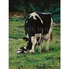 s print featuring holstein cow newborn calf