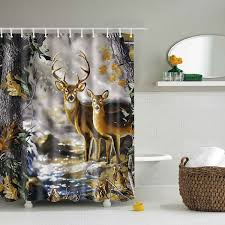 Whitetail Deer Shower Curtain Deer Print Waterproof Polyester Shower Curtain Colormix In Shower