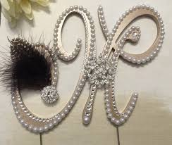 z cake topper pearl wedding cake topper monogram cake topper with swarovski