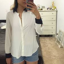 rayon blouse 81 uniqlo tops rayon white shirt with navy black