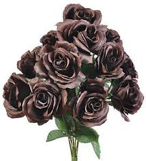 stem roses chocolate brown 12 open stem roses silk wedding flowers