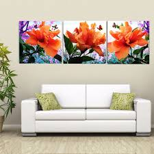 direct selling home decor direct selling hot sale unframed 3 pieces hibiscus flower hd
