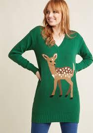 deer v neck pullover sweater modcloth