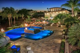 Swimming Pool Backyard Designs Tropical Pool Oasis With Water Features And Fire Pit Hgtv