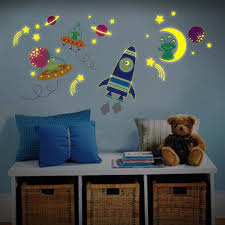 Nursery Stickers Glow In Dark Moon Rocket Ship Space Ships And Aliens Kids Nursery