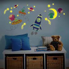 childrens wall stickers kids wall stickers online wall glow in dark moon rocket ship space ships and aliens kids nursery wall sticker