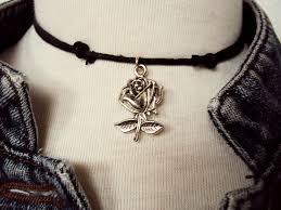 rose choker necklace images Winter rose necklace rose choker black choker gothic rose jpg