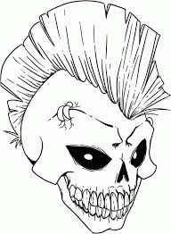 punk rock skull coloring page coloring sky
