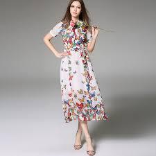 tea length dress white chiffon tea length dress with colorful butterflies