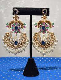 peacock design earrings in gold multi color sapphire cz chand bali peacock design intricate