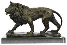 lion figurine hot cast bronze lion figurine signed sculpture traditional