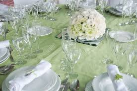 detail of a wedding table set for fine dining with a estomas