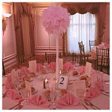 Centerpiece With Feathers feather centerpiece with draped pearls hanging cyrstals tall