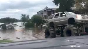 show me videos of monster trucks army vehicle gets stuck in houston floodwaters u2013 then a monster