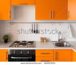 furniture kitchen set orange kitchen set modern style stock photo 474511099