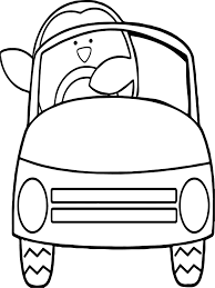 toy car penguin coloring wecoloringpage