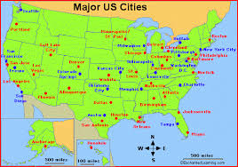map of us cities major cities in the usa enchantedlearning