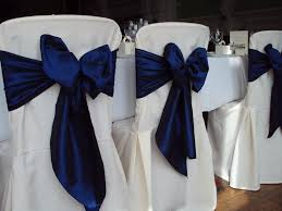 navy blue chair sashes chairs at reception wedding chair covers